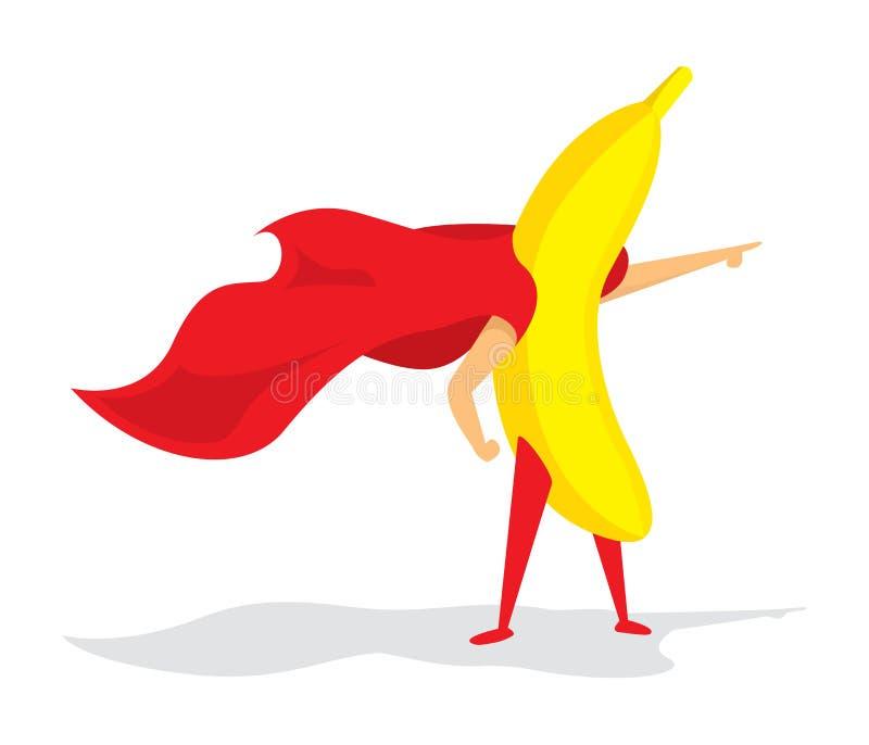 Bananowa super bohatera pozycja z przylądkiem ilustracja wektor