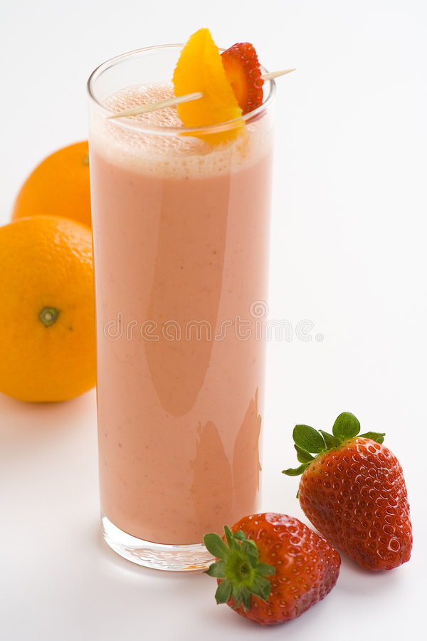 bananowa wyśmienicie milkshake pomarańcze truskawka zdjęcia royalty free