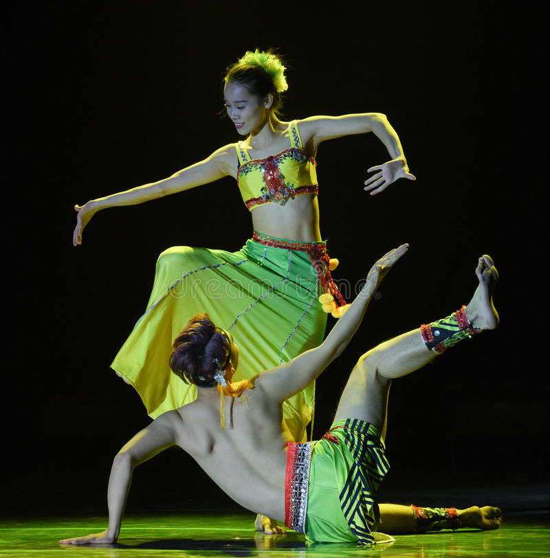 Bananowego drzewa Dai par krajowy ludowy taniec obraz stock