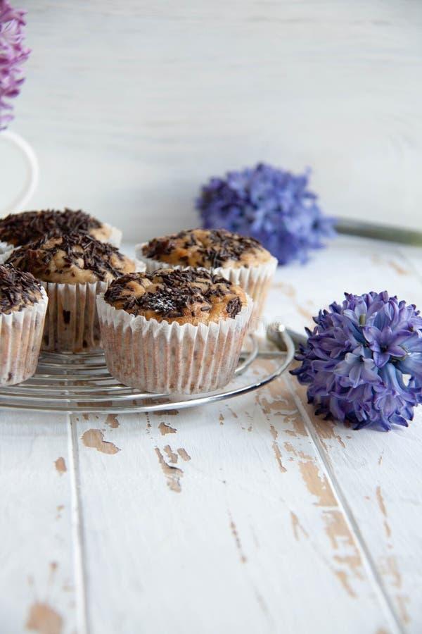 Bananowi muffins z czekoladą obrazy royalty free