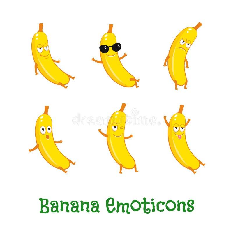 Bananowi uśmiechy Śliczni kreskówek emoticons Emoji ikony royalty ilustracja