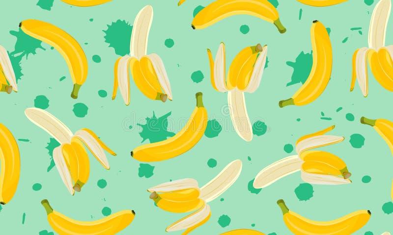 Bananowy bezszwowy wzór, Przyrodni obrany banan na zielonym farby pluśnięcia tle owoce tropikalne ilustracja wektor