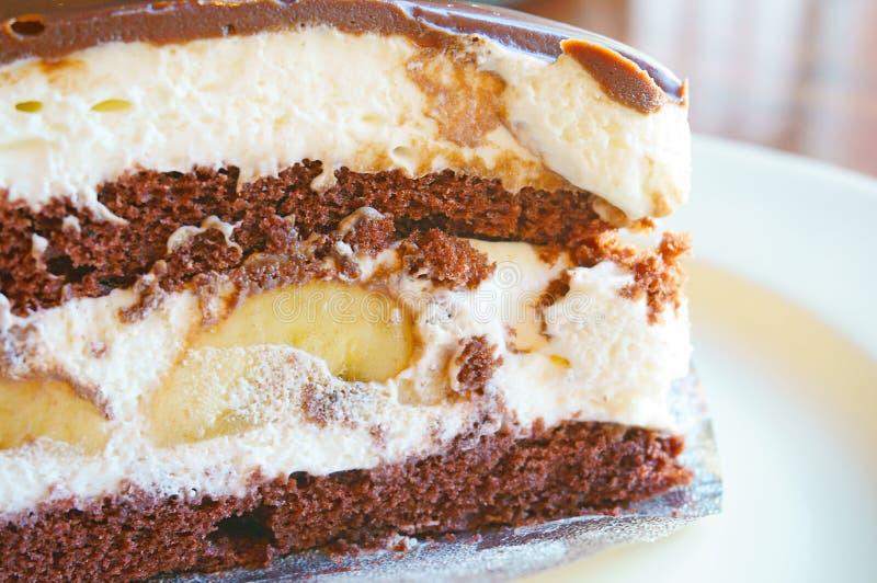 Bananowy czekoladowy tort obraz stock