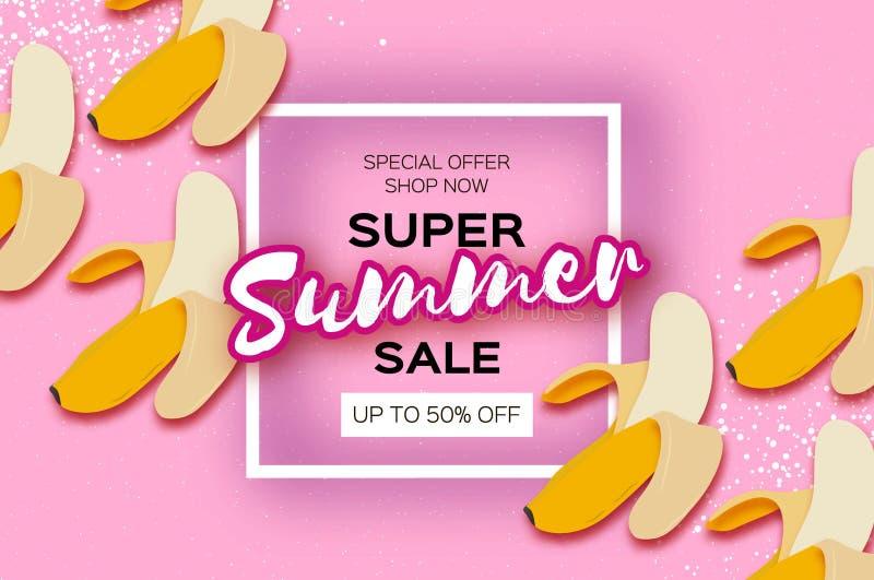 Bananowy Super lato sprzedaży sztandar w papieru cięcia stylu Origami pióra owoc Zdrowa świeża żywność na menchiach Kwadratowa ra royalty ilustracja