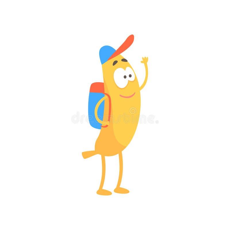 Bananskolpojke med ryggsäcken, för frukttecken för tecknad film rolig illustration för vektor stock illustrationer