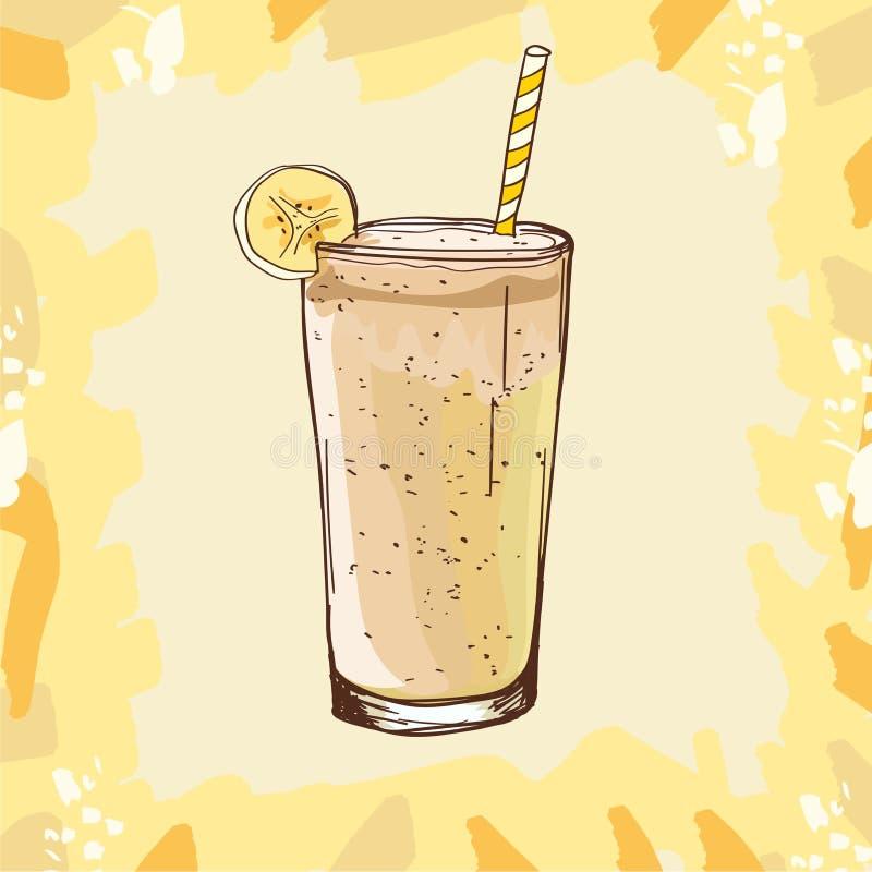 Banansmoothierecept Menybest?ndsdel f?r kaf? eller restaurang med den driftiga nya drinken Ny fruktsaft f?r sunt liv royaltyfri illustrationer