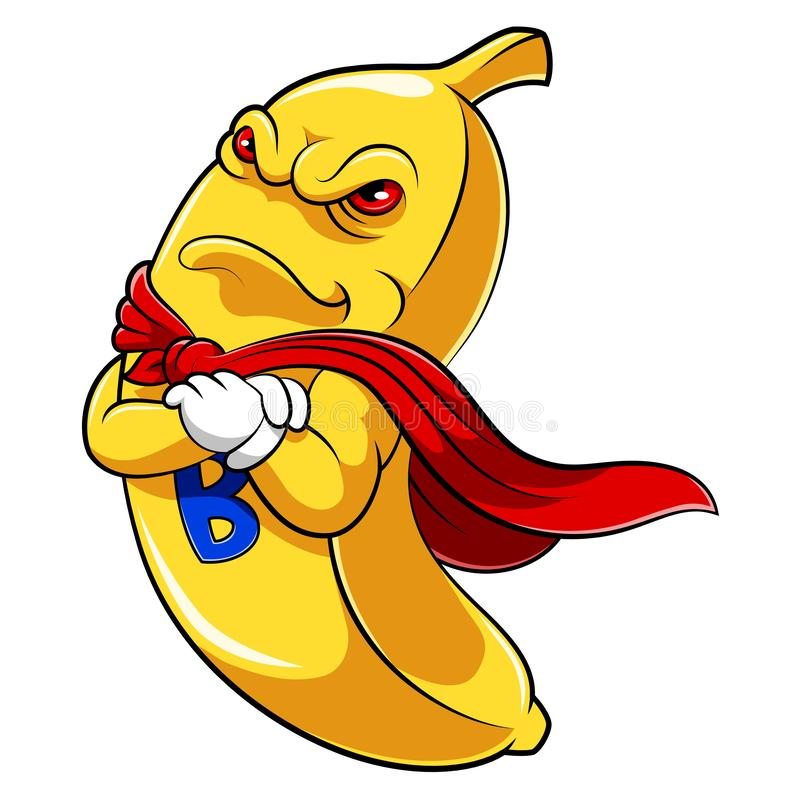 Banansuperheromaskot royaltyfri illustrationer
