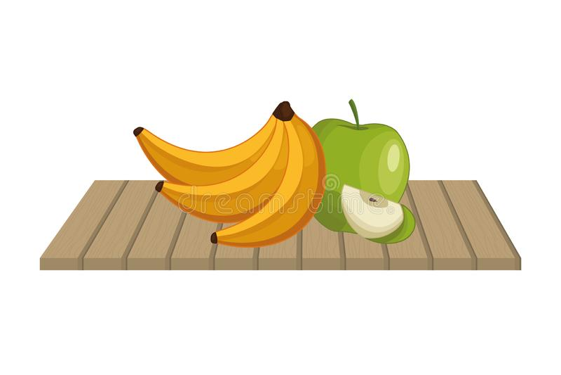 Banany i jab?ka na stole royalty ilustracja