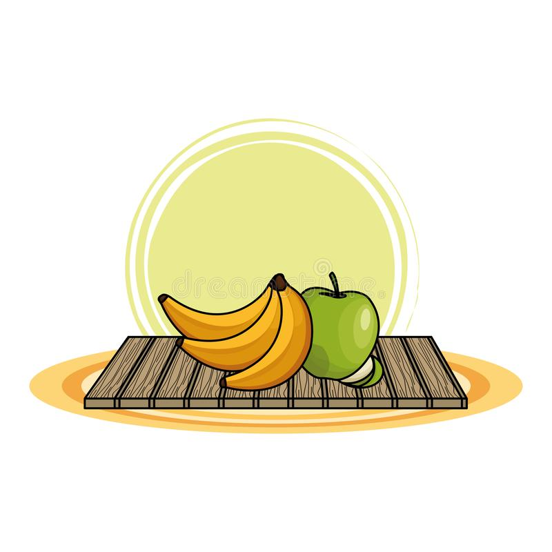 Banany i jab?ka na stole ilustracji