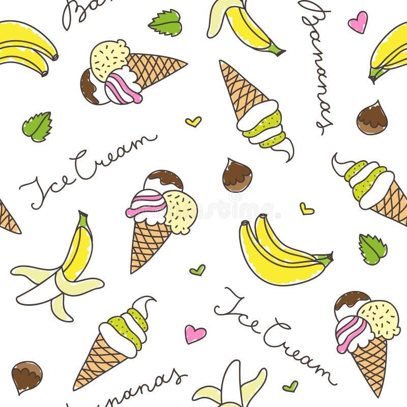 Banany i lodów rożki ilustracji