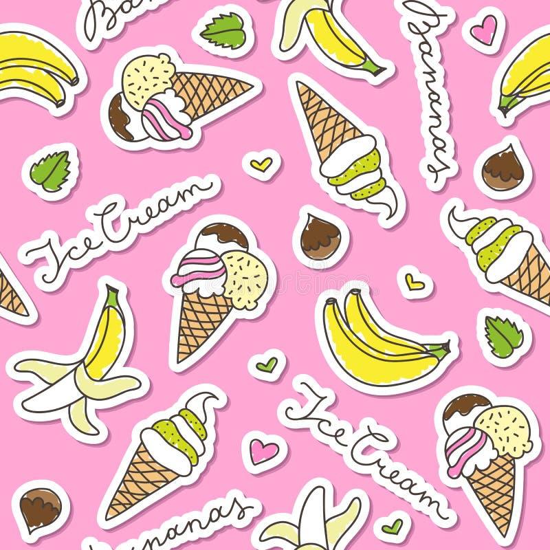 Banany i lodów rożki royalty ilustracja