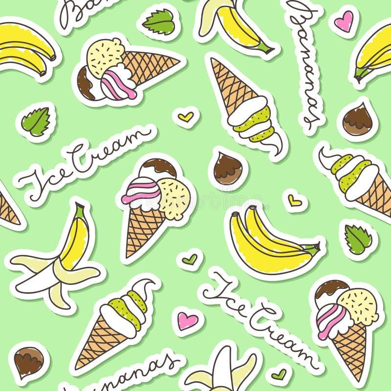 Banany i lodów rożki ilustracja wektor
