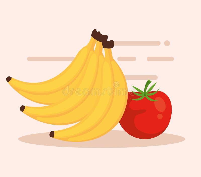 Banany i tomatoe ikony ilustracja wektor