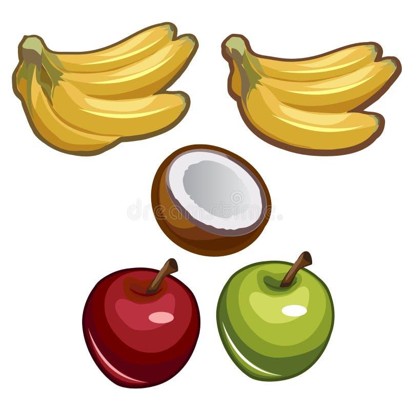Banany, koks i jabłka na białym tle, ilustracji