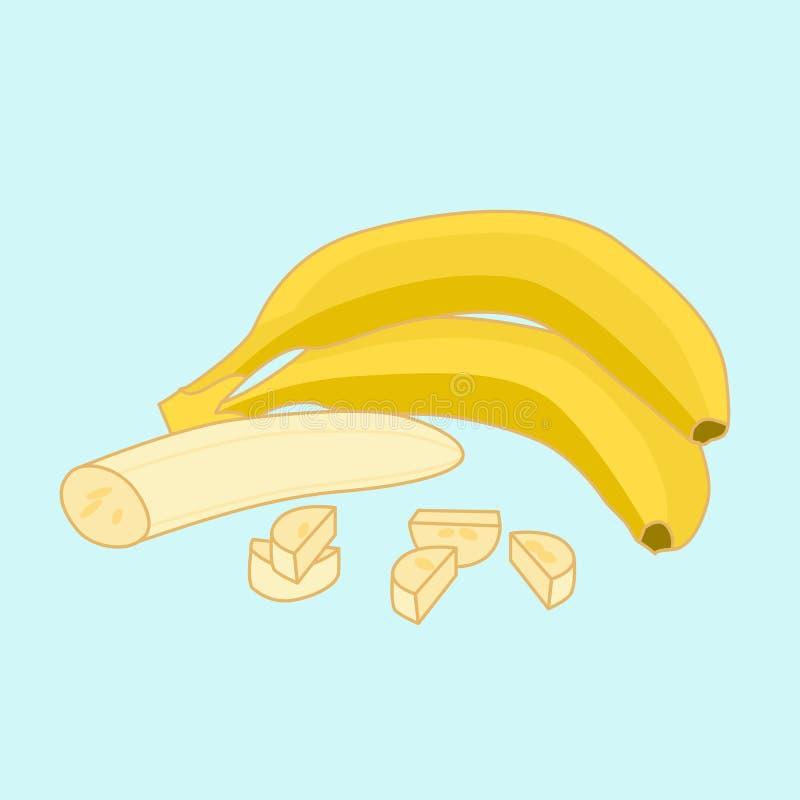 Banany kreślą, strugali banana połówka pokrajać kawałków, i, ilustracja royalty ilustracja
