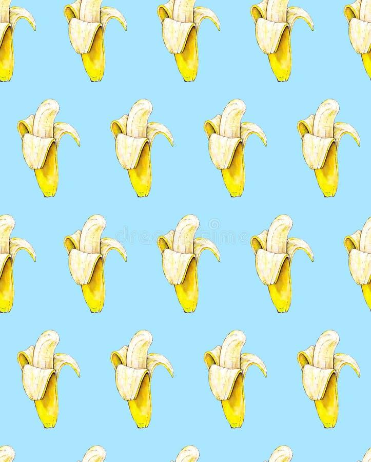 Banany na błękitnym tle bezszwowy wzoru beak dekoracyjnego latającego ilustracyjnego wizerunek swój papierowa kawałka dymówki akw royalty ilustracja