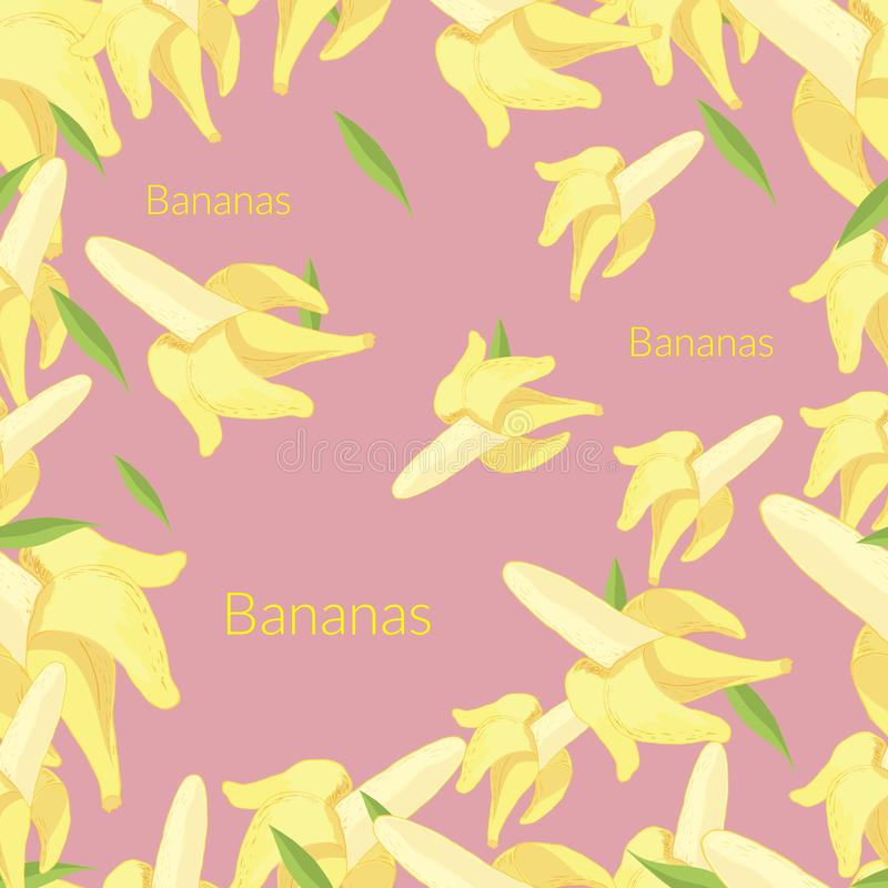 Banany na r??owym tle ilustracji