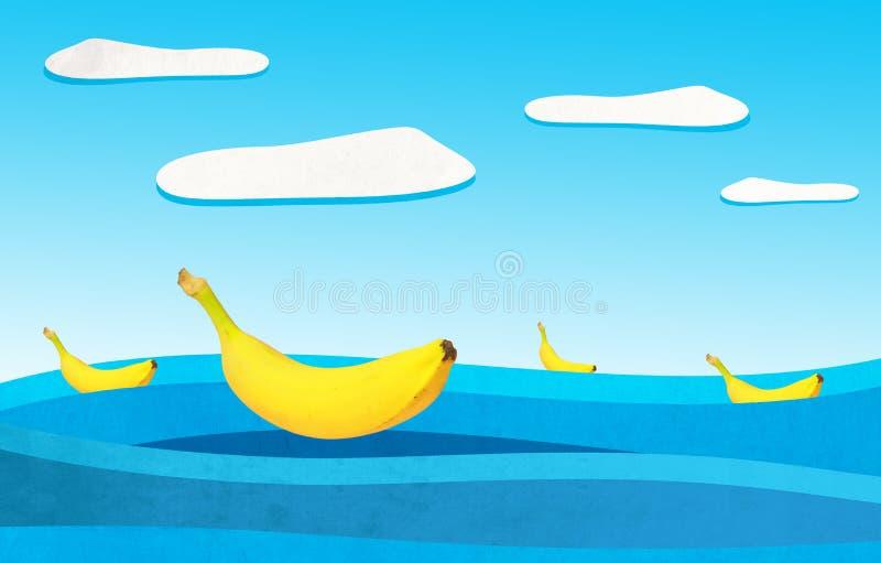 Banany pływają na malującym morzu na słonecznym dniu zdjęcie royalty free