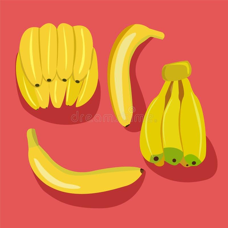 Banany pakują wiązki świeże bananowe owoc odizolowywać ilustracji