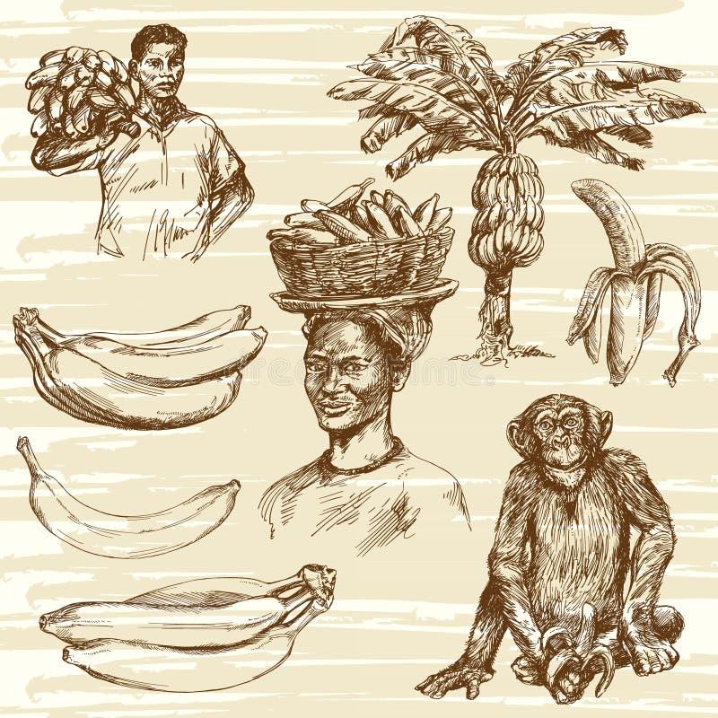 Banany ustawiający Mężczyzna i kobiety z bananami royalty ilustracja