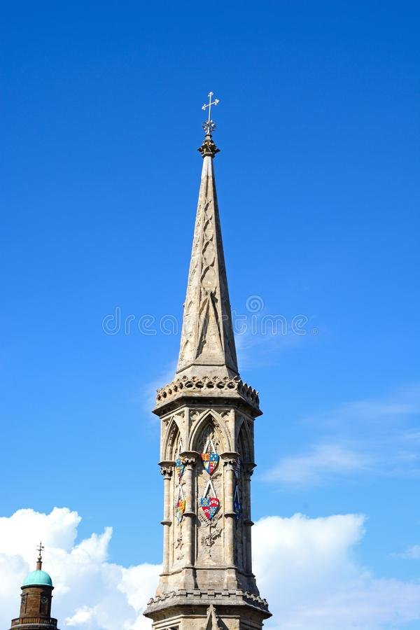 Banbury Cross spire. View of the top of the Banbury Cross in the town centre, Banbury, Oxfordshire, England, UK, Western Europe stock photo