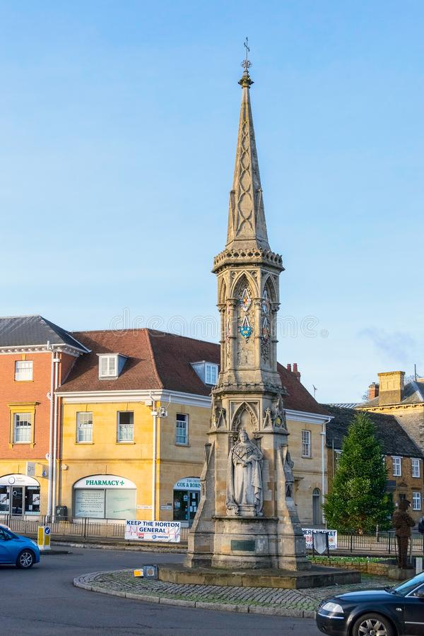 The famous cross in Banbury. Banbury, United Kingdom - December 29, 2018: Famous cross and statue of Fine Lady in Banbury, market town in Oxfordshire, England stock photo