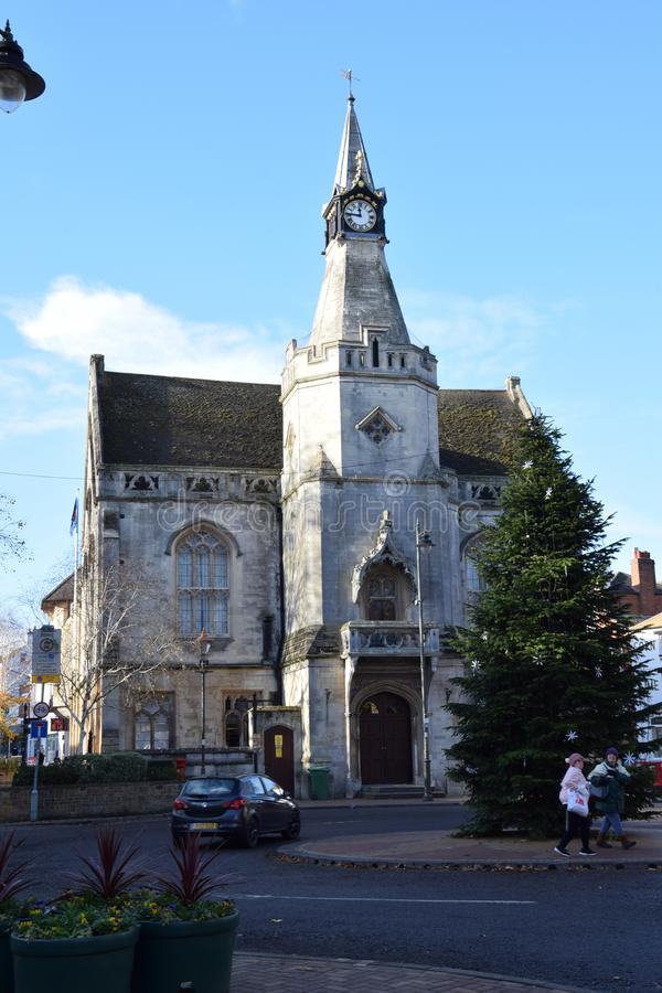 Banbury town Hall at Christmas. Banbury, United Kingdom - November 29 2017: The Town Hall building in Banbury with a CHristmas Tree in front stock image