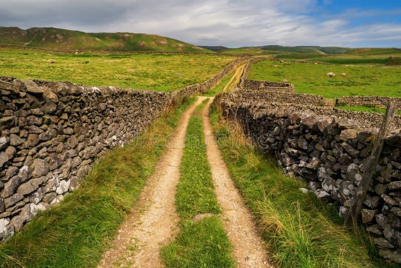 Banc à dossier d'abvove de voies vertes de vallées de Yorkshire photos stock