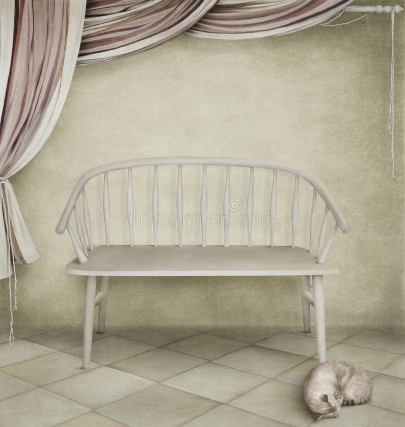 Banc blanc et un chat illustration stock