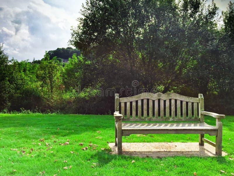 Banc concret en parc photographie stock libre de droits