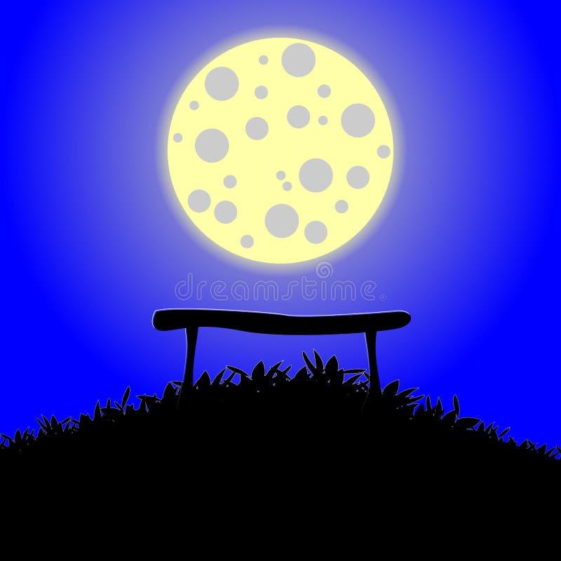 Banc contre la pleine lune illustration de vecteur