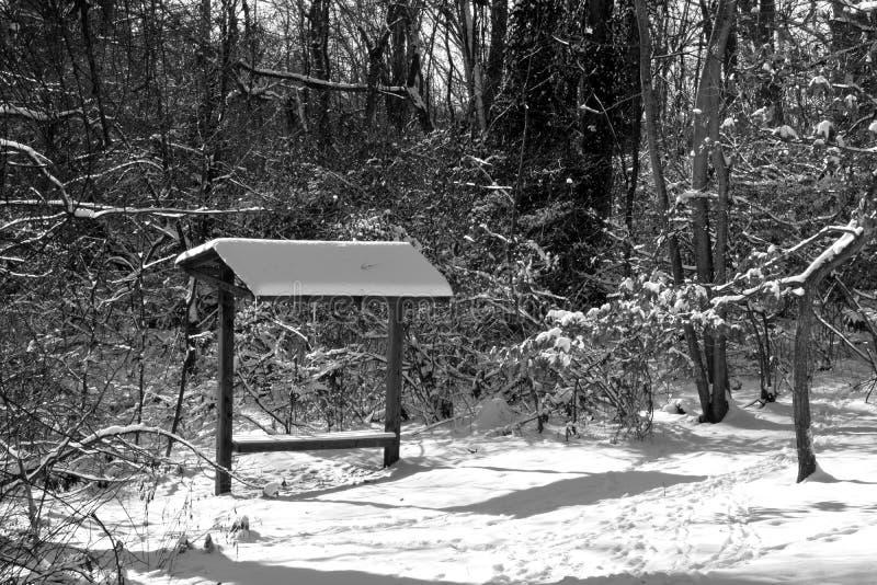Banc couvert dans la neige images stock