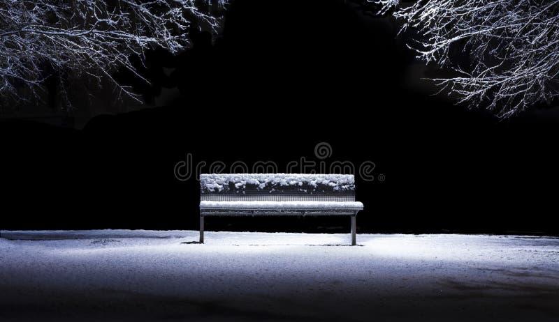 Banc d'isolement en parc après chutes de neige photo stock