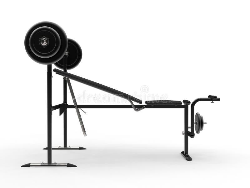 Banc de gymnase de pente avec le poids de barbell et les plats supplémentaires de poids - vue de côté photos stock
