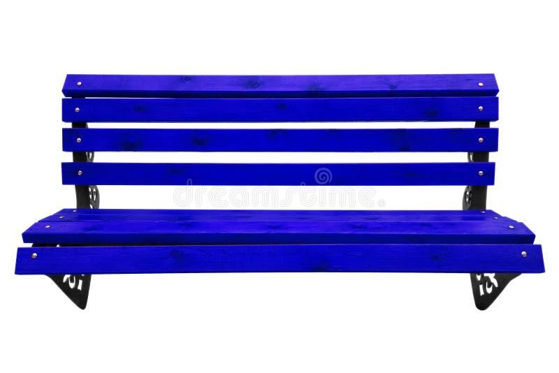 Banc de parc en bois - bleu-foncé photographie stock libre de droits