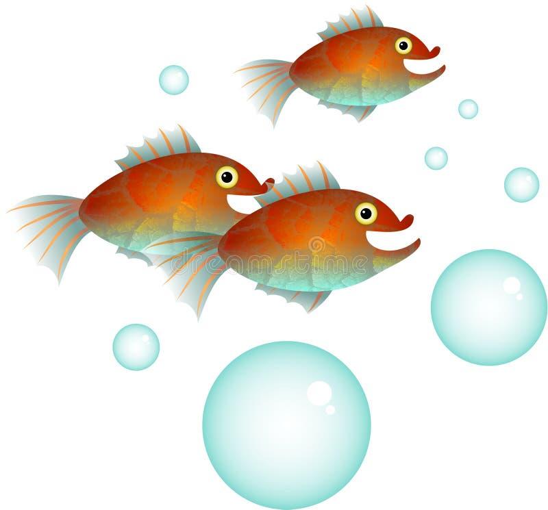 Banc de poissons de bande dessinée illustration libre de droits