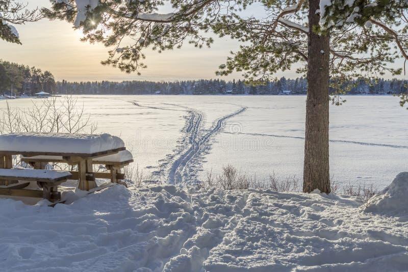 Banc devant le lac congelé avec Ski Tracks image stock