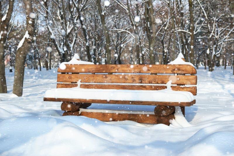 Banc en bois en parc d'hiver Jour ensoleillé lumineux et neige images stock