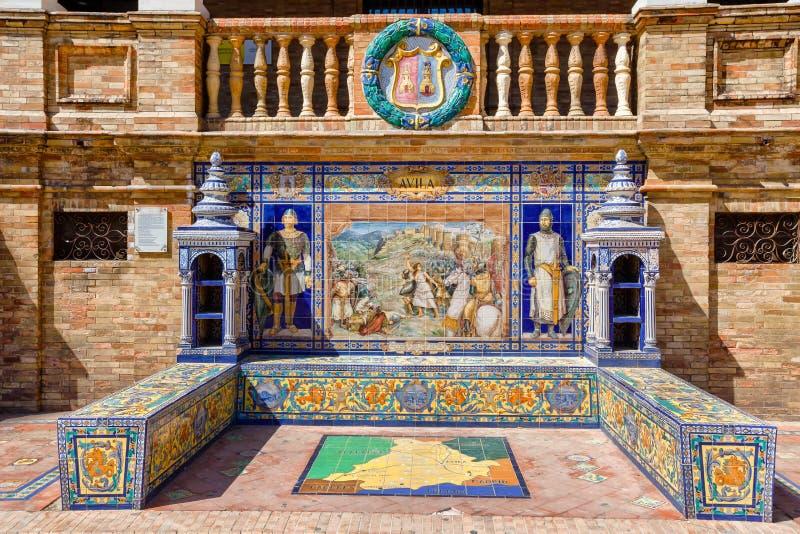 Banc en céramique avec une description historique d'Avila photos libres de droits