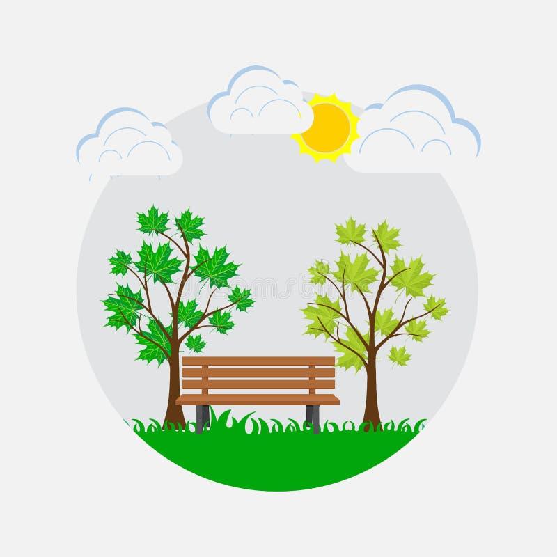 Banc en parc, lieu de repos, parc de ressort illustration de vecteur