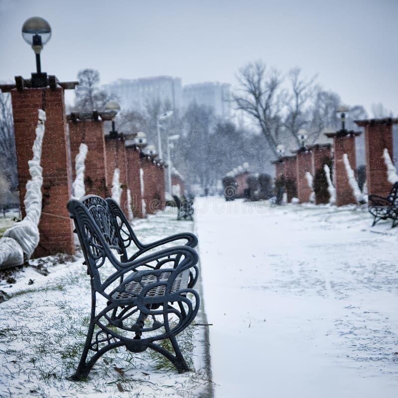 Banc en stationnement de l'hiver images libres de droits