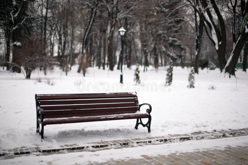 Banc en stationnement de l'hiver avec une lanterne images stock