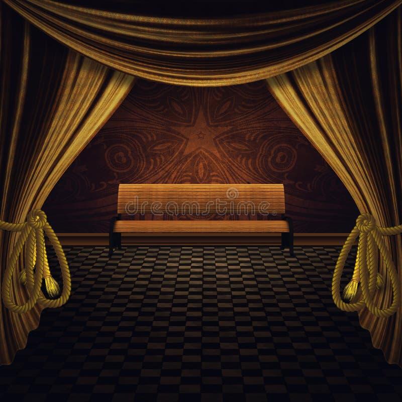 Banc et étape d'or de rideaux illustration de vecteur