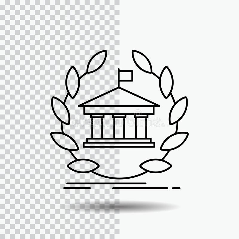 banca, attività bancarie, online, università, costruzione, linea icona di istruzione su fondo trasparente Illustrazione nera di v royalty illustrazione gratis