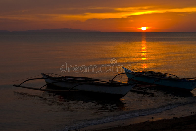 Banca Boats At Sunset On Beach Royalty Free Stock Images