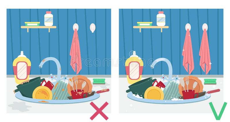 Banca da cozinha com pratos sujos e os pratos limpos Ilustração antes e depois housework ilustração do vetor