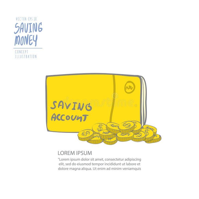 Banca del libro e mucchio delle monete Vettore piano della pittura del disegno royalty illustrazione gratis