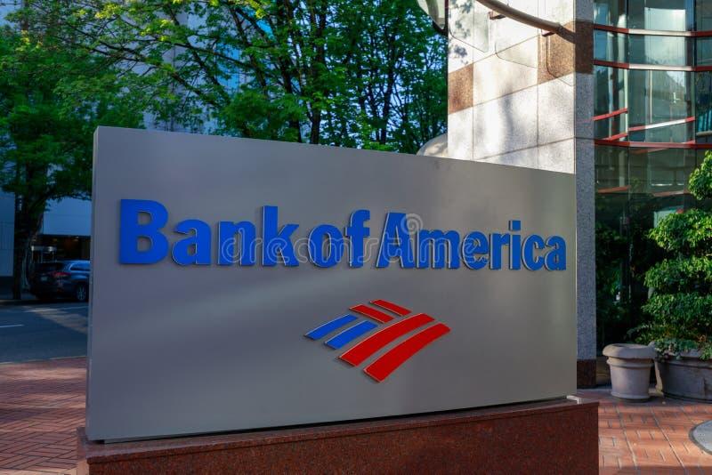 Banca di America a Portland del centro immagini stock libere da diritti