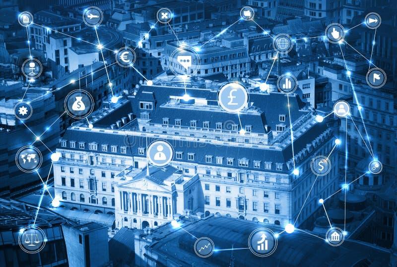 Banca di Inghilterra Illustrazione con le icone di affari e di comunicazione, concetto delle connessioni di rete immagini stock