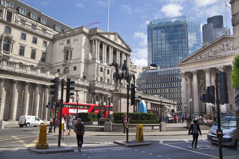 Banca di Inghilterra Quadrato e stazione della metropolitana fotografie stock